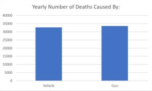 Deaths in 2013 by gun or vehicle.